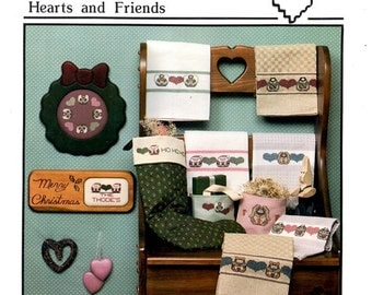 Hearts and Friends Teddy Bears Angels Bunny Rabbit Santa Clause Angels Holiday Motifs Counted Cross Stitch Embroidery Pattern Craft Leaflet