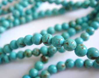14. Turquoise 3mm Round Bead 16 Inches 127pcs Stones Beads