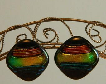 Dichroic  Glass Earrings,Bold and Beautiful, Stainless Steel Posts, EP6
