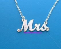 Cursive Mrs. Necklace with Stronger rolo chain, Sterling Silver,  Double thick silver,Choose from 14  different fonts