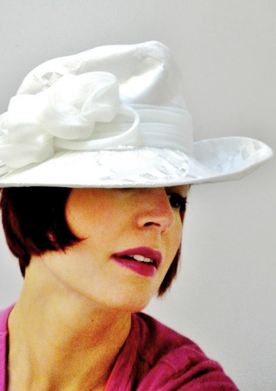 1970s White Trilby Hat by Connor
