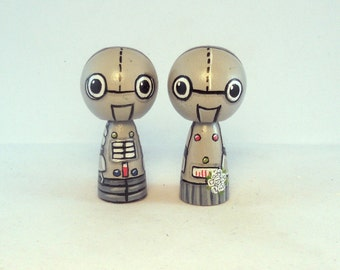 Cute Robot Wedding Cake Toppers Kokeshi Doll