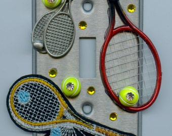 Tennis Theme Light Switch Cover With Rackets & Tennis Balls
