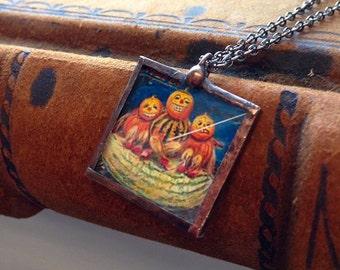 Vintage Halloween postcard pendant necklace anthropomorphic gourd people Jack O' Lantern heads