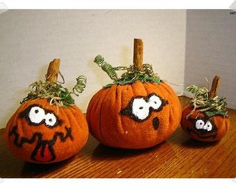 Halloween Suede Pumpkins/Set of 3 /Holiday Decor/ Handmade**