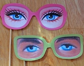 Ken and Barbie photo prop printable paper glasses kit. Download instantly DIY templates/patterns to print & make 5 specs - by Happythought.