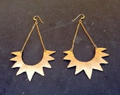 Sunburst Brass Hammered Tribal Earrings on 14k Gold Fill - Boho Tribal Festival Earrings