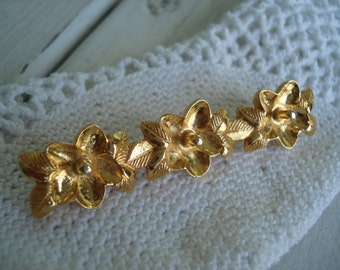 Vintage Gold Bar Pin Brooch Flowers Floral Leaves