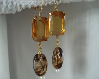 Vintage Topaz and Rootbeer Striated Etched Gold Glass Pearl Dangle Earrings Woodland Autumn