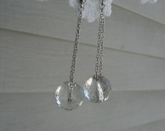 Vintage Faceted Crystal Glass Silver Pierced Earrings Cha Cha 1960's
