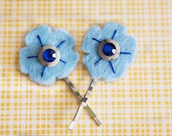 Light Blue felt flower hair pins