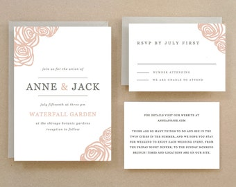 Printable Wedding Invitation Template | INSTANT DOWNLOAD | Roses | Word or Pages | Easy DIY | Editable Artwork Colors