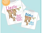 Big Sister Again and Big Brother Shirt set of 2, Sibling Shirt, Personalized Tshirt with Cute Monkeys (07102013a)