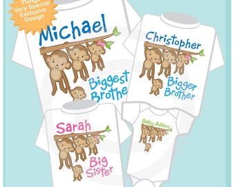 Set of Four Sibling Monkey Shirts and Onesies, Biggest Brother, Bigger Brother, Big Sister and Unknown baby gender (06272013b)