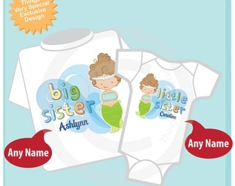 Personalized Girls Set Of Two, Big Sister and Little Sister Mermaid Tees or Onesies (11142013c)