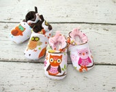 Classic Vegan Retro Owls Owls All Fabric Soft Sole Baby Shoes / Made to Order / Babies Twins Boy Girl