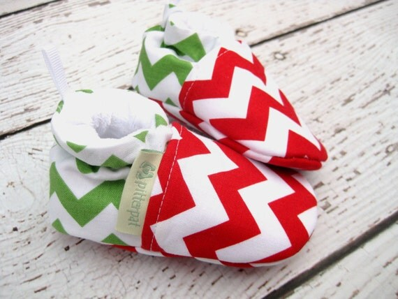 Christmas Chevron All Fabric Soft Sole Shoes