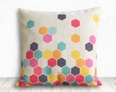 Geometric Pillow Covers, Pillow Cover, Decorative Throw Pillows, Decorative Pillows, Linen Pillow Cases, 18x18 - Printed Geometric - 101