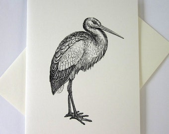 Stork Cards Set of 10 in White or Light Ivory with Matching Envelopes