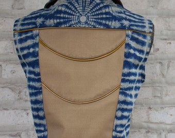 Blue Denim vest with vinyl accents