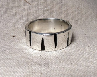8 mm Textured Sterling Silver Band  RF574