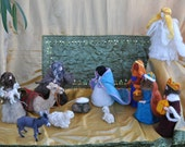 Needle felted Nativity  Waldorf. 13 pieces. Made to order.