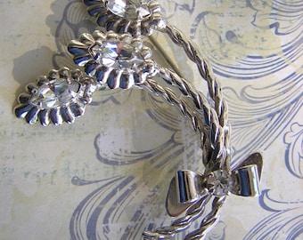 Vintage Sterling Silver Raphael Brooch - Signed Flower Spray Rhinestone Pin