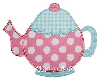 053 Teapot Machine Embroidery Applique Design