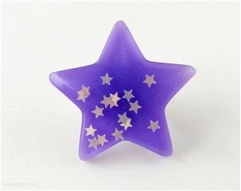 Star Ring, Oversized, Purple, Resin, Silver Plated, Adjustable - Fairy Kei, Pastel Goth
