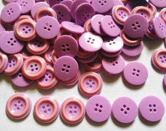 40 pcs -  2 faces button purple color size 18mm