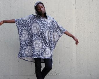 Avant Garde Poncho Cape Cloak with Hood - Grey Spiral