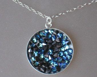 Swarovski Bernuda Blue Texture Pendant Necklace