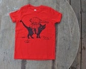 SaLE CLEARANCE / Black Cat with Atomic Ray Gun SteamPunk T-Shirt American Apparel Bright Red Tee for Kids