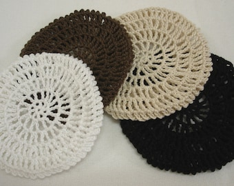 Traditional Hair Net / Bun Cover Crocheted Black, Brown, Natural, White Set of 4 Net Style
