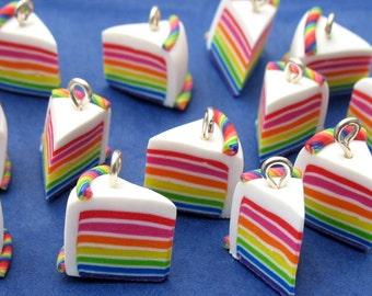 Miniature Food Jewelry Rainbow Cake Charms x 4
