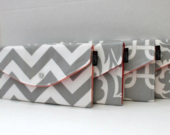 Set Of 4 - Modern Grey Collection - Bridesmaid Clutches