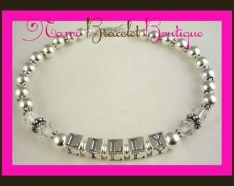 Mothers Bracelet with child or children's personalized name in silver and celebrate with their birthstone swarovski crystals