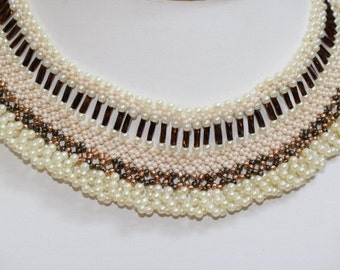 cream and bronze choker