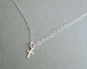 Sterling Cross Necklace Christian Jewelry Faith Necklace Religious Jewelry Gift for First Communion Confirmation