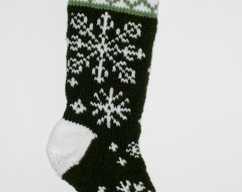 Snowflake Christmas Stocking - Forest Green