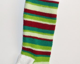 S12 Striped Christmas Stocking - Greens & Red
