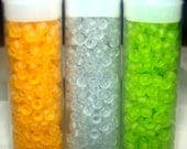 SALE 3 tubes of Green, Orange, and Blue Seede Beads