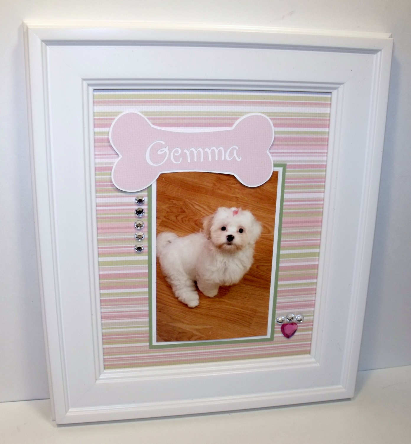 Dog picture frame personalized pink and green stripe dog bone sold by memoreasykeepsakes jeuxipadfo Images