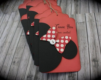 MINNIE Mouse Thank You tags....VINTAGE pink or red...set of 5