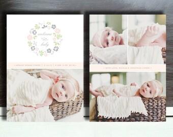 Baby Photographer Birth Announcement Template Design - b0012 - Photoshop Templates