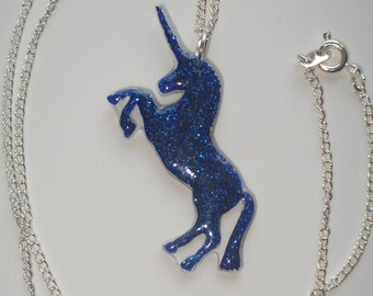 Blue glitter unicorn necklace