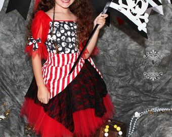 Red Pirate costume skull tutu Halloween costume 12 month