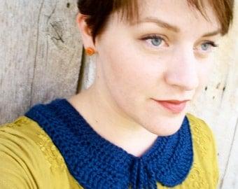 Crochet Peter Pan Collar Necklace - Medium - Soft Navy
