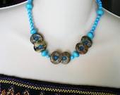 Turquise color bead, statement necklace, boho jewelry, blue stones, unique necklace