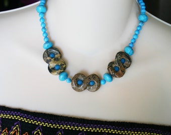 Turquise color bead, statement necklace, boho jewelry, blue stones, unique necklace